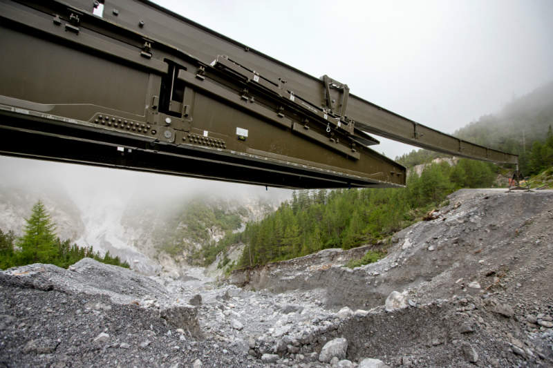 WFEL Dry Support Bridge deploying in disaster zone
