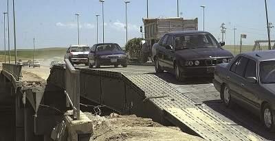 WFEL Dry Support Bridge in use over destroyed bridge