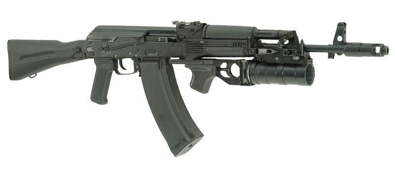 The AK-74M assault rifle with GP-34 grenade launcher and 60-round casket magazine. Credit: Srebenicakaka