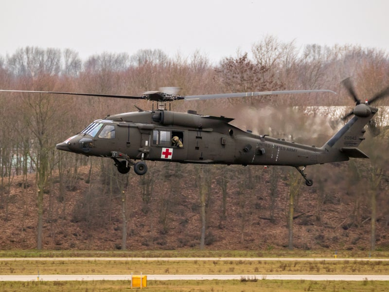 The HH-60M helicopter is capable of flying at a speed of 140.7k.