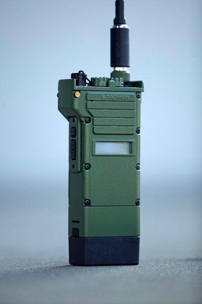 The RADMOR 3501 modern, handheld, VHF frequency-range tactical communications radio.