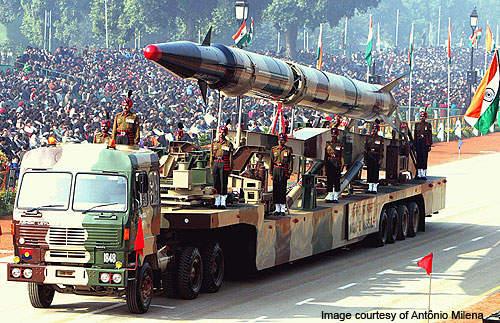An Agni-II intermediate range ballistic missile on a road-mobile launcher.