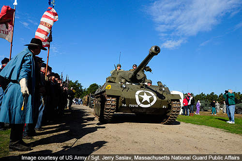 A WWII tank destroyer on its way to a demonstration at the open house at Camp Edwards