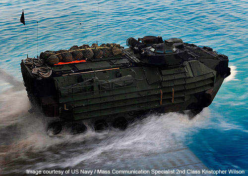 An amphibious assault vehicle (AAV) assigned the 22nd Marine Expeditionary Unit (22nd MEU).