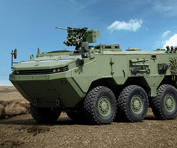 ARMA is a wheeled armoured tactical vehicle developed privately by Otokar.