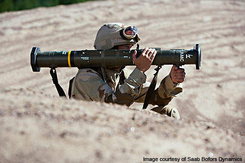 The AT4 is an 84-mm unguided, anti-armour weapon.