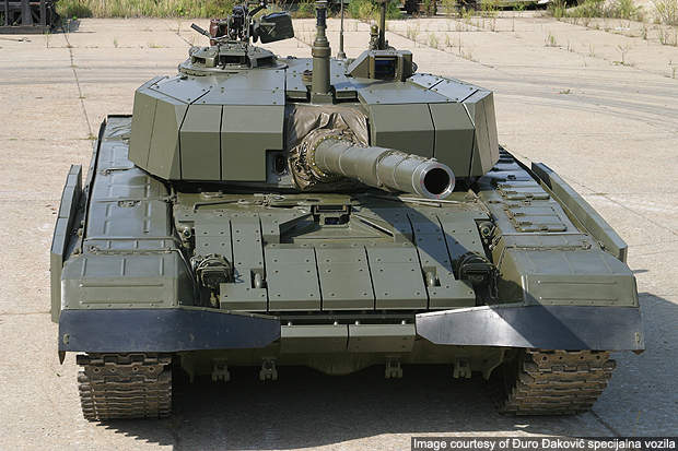 Front View of the Degman M-95 Main Battle Tank.