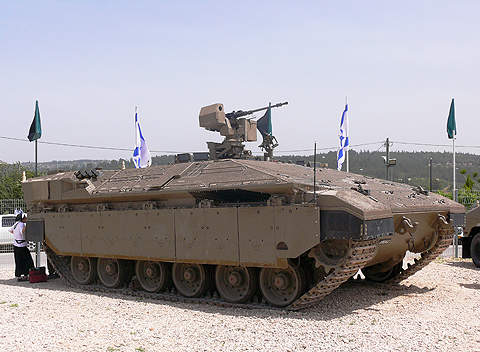 Namer is a heavily armoured infantry fighting vehicle based on the chassis of the Merkava 4 main battle tank of Israel.