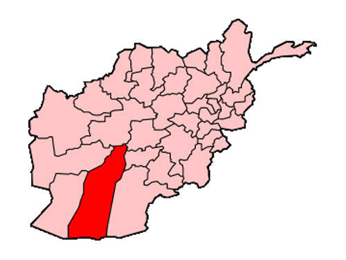 A map of Afghanistan showing the location of Helmand Province, in which Fort Bastion is located.
