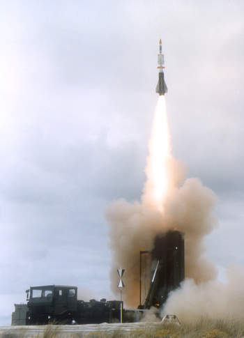 Aster 30 SAMP/T land to air missile launching from launching pad