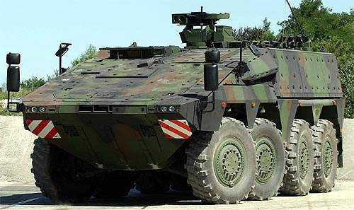 The Boxer 8x8 wheeled Multi-Role Armoured Vehicle (MRAV).