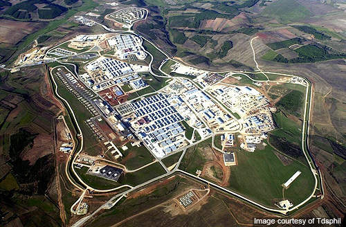 Aerial view of the Camp Bondsteel, Kosovo.