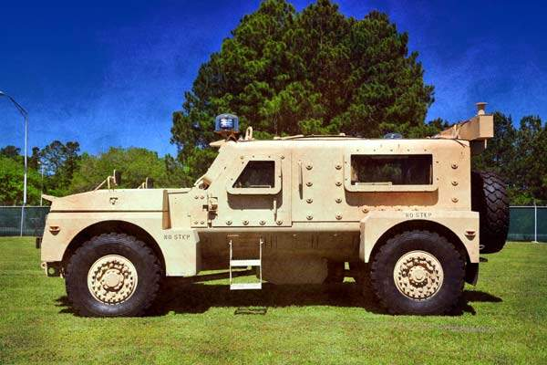Side profile view of a Cheetah armoured vehicle