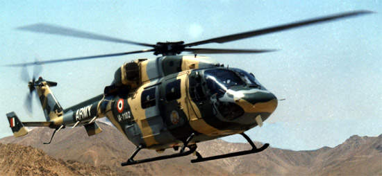 The Dhruv advanced light helicopter (ALH), multirole and multimission helicopter is in service with the Indian Army.