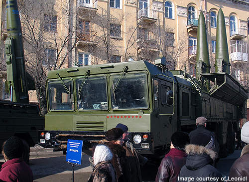 An Iskander-E transporter-erector-launcher with two missiles being displayed at a military equipment exhibition in Volgograd.