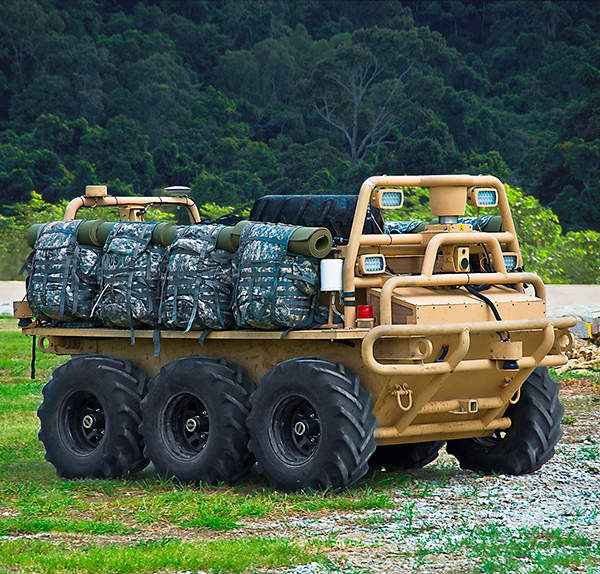 The SMSS (Squad Mission Support System) is an autonomous unmanned ground vehicle.