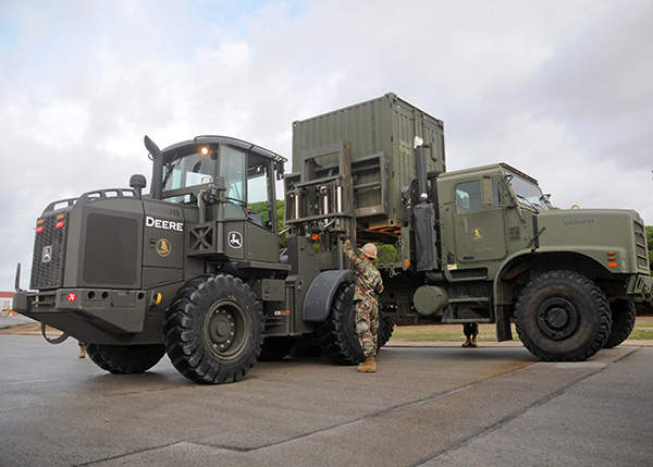 The Medium Tactical Vehicle Replacement (MTVR) family of all-terrain cargo trucks are in service with the US Navy and US Marine Corps. US Navy photo by Mass Communication Specialist 1st Class Ryan G. Wilber.
