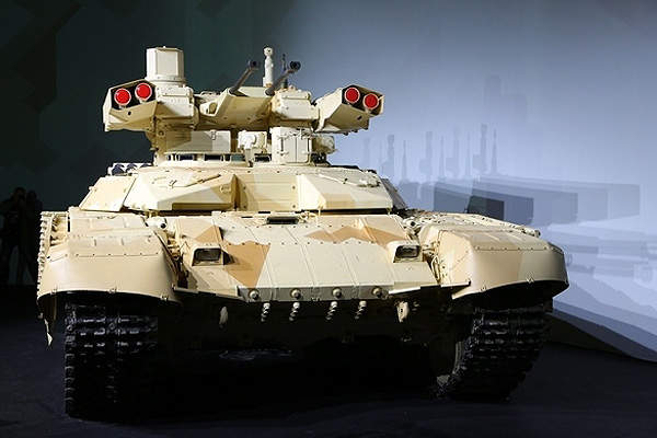 The BMPT-72 tank support combat vehicle is based on the chassis of the T-72 tank. Image courtesy of UralVagonZavod.