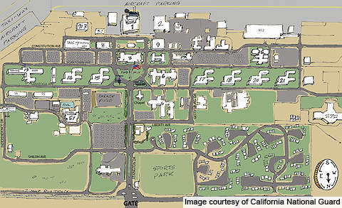 The graphical map of Joint Forces Training Base, (JFTB) Los Alamitos.