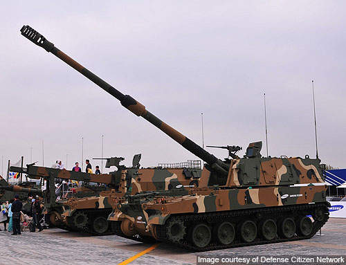 K-9 Thunder 155mm / 52 Cal. self-propelled howitzer of the ROK Armed Forces.