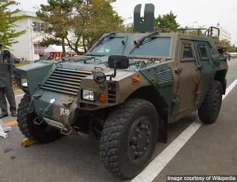A Komatsu LAV (Light Armoured Vehicle) on display at the JGSDF Ordnance School in Tsuchiura, Japan.