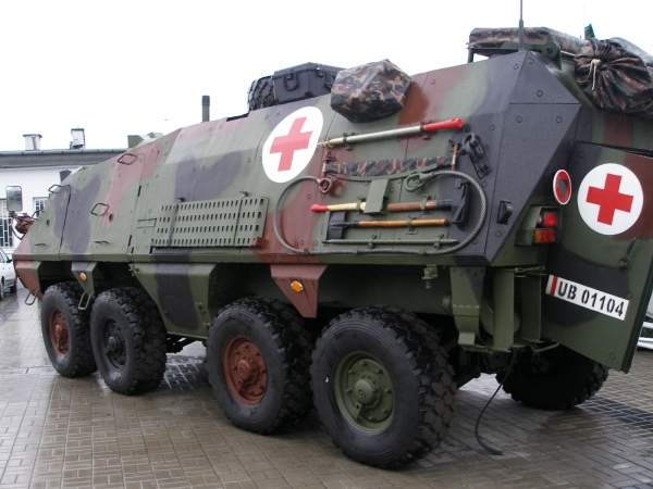 The Polish Armed Forces' RYŚ Med is a medical evacuation vehicle variation based on the RYŚ 8x8 wheeled armoured personnel carrier. Image courtesy of Spike78.