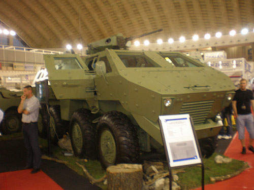The Lazar BTR-SR-8808 MRAP on display at