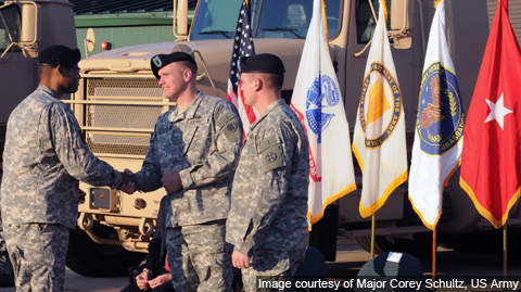 Lt Col Paul Shuler presenting the M915A5 to the US Army Reserve Walker Center in Michigan in September 2010.