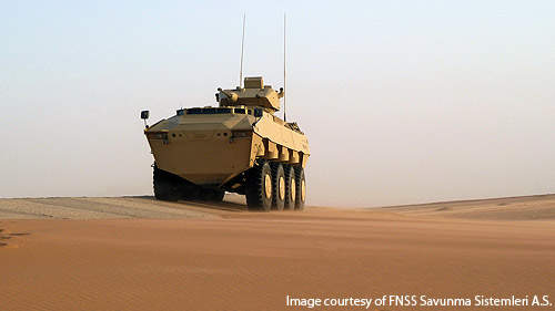 The PARS 8x8 vehicle is fitted with a 7.62mm general purpose machine gun for self protection.