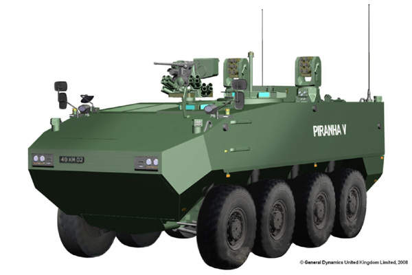 Piranha V was selected by the UK MoD in May 2008 as the preferred design for the utility vehicle of the future rapid effect system (FRES).