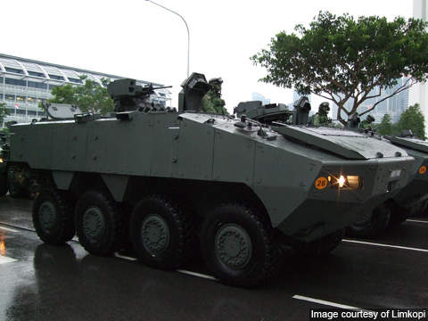 Terrex is a new 8x8 wheeled armoured infantry fighting vehicle of the Singaporean Army.