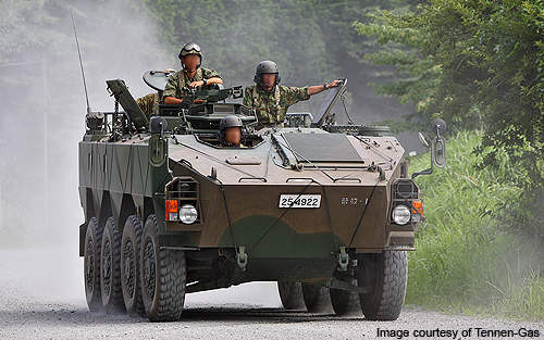 The Type 96 wheeled armoured personnel carrier of the JGSDF.