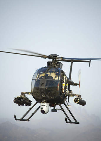 Unmanned little bird helicopter in flight during testing