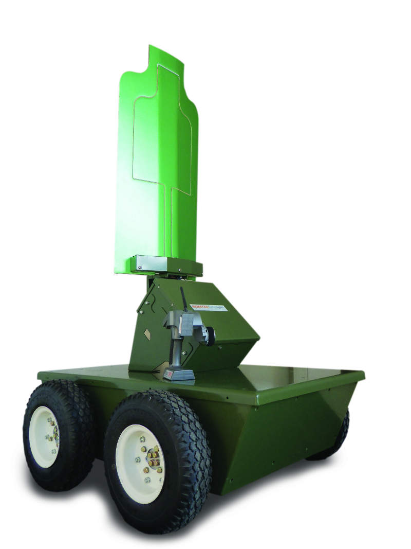 A green target on wheels