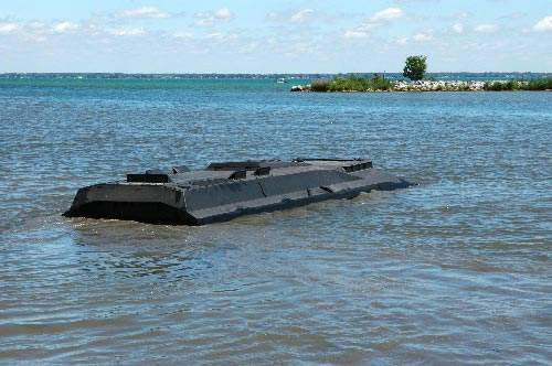 The Colonel GPV almost fully submerged in water