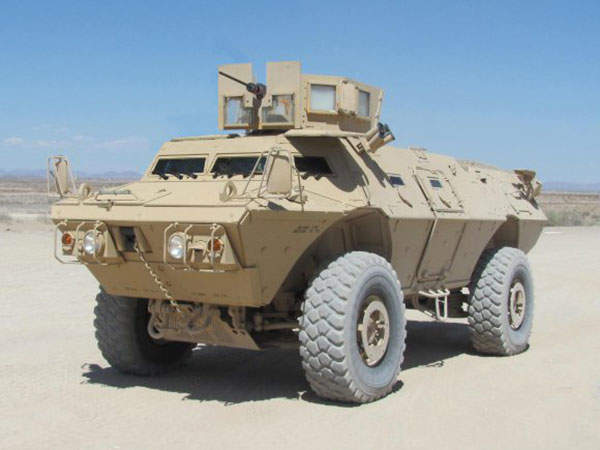 The Mobile Strike Force Vehicle (MSFV) is a modified variant of the M1117 Armoured Security Vehicle (ASV). Image courtesy of Textron Marine and Land Systems.