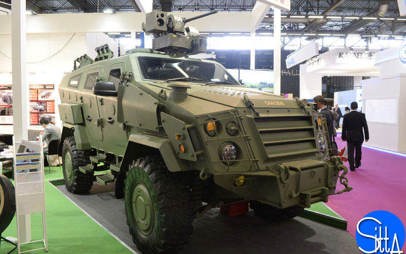 The First Win armoured vehicle features a V-shaped, monocoque hull. Image courtesy of Ministère de la Défense.