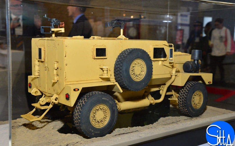 A mock-up of the Peace Keeping Security Vehicle (PKSV) seen during Expodefensa 2015. Image courtesy of Ministry of Defence.