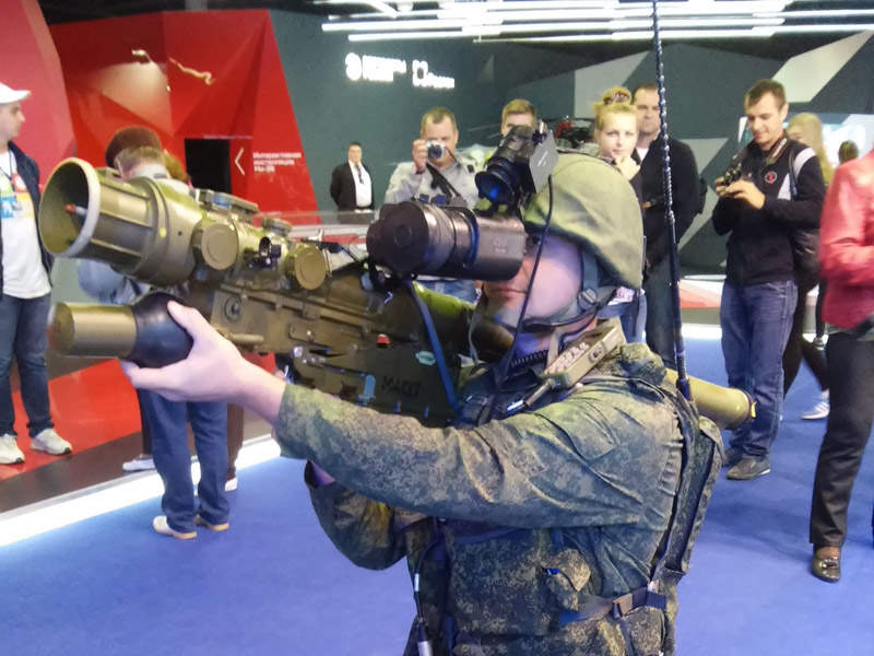 A full-scale mock-up of the Verba MANPADS seen during the Army-2015 International Military-Technical Forum held in Moscow, Russia.