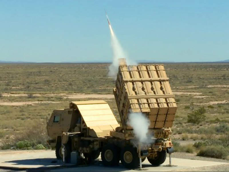 A Miniature Hit-to-Kill missile was test-fired from a Multi-Mission Launcher in April 2016. Image courtesy of U.S. Army, Photo by Michael Smith.