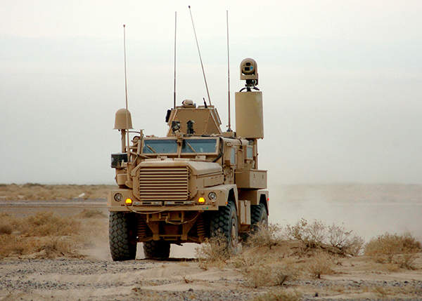 A Cougar mine-resistant ambush-protected (MRAP) vehicle deployed in a route development project in Helmand Province, Afghanistan. US Navy photo by Mass Communication Specialist 2nd Class Michael Lindsey.