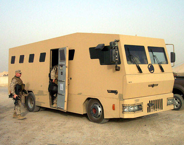 RhinoRUNNER is an armoured bus is manufactured by Armour Group. Image courtesy of James Gordon.