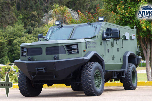 The Hunter TR-12 APC is designed and manufactured by the Armor International, for the Colombian Army. Image courtesy of Armor International S.A.