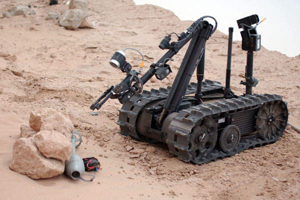 The TALON lightweight unmanned tracked robot is designed and manufactured by Foster-Miller.