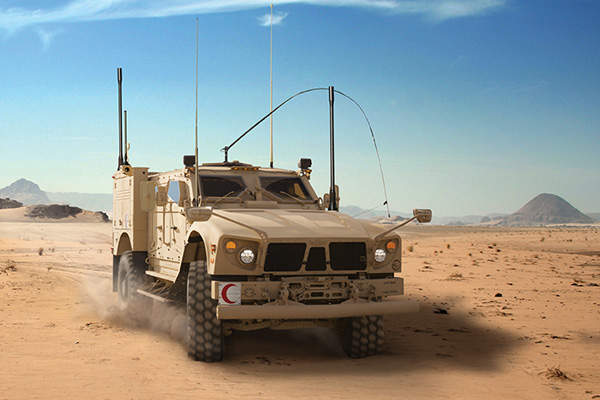 The M-ATV extended medical (EXM) vehicle was displayed at International Defence Exhibition and Conference (IDEX) in February 2015. ImageL courtesy of Oshkosh Corporation.
