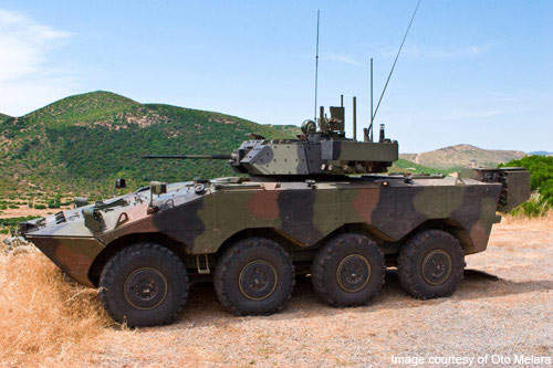 VBM Freccia is an 8×8-drive vehicle with disc brakes on all eight wheels.