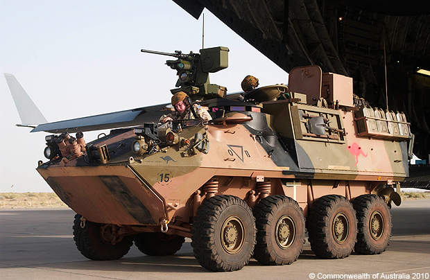 A side view of the ASLAV light armoured vehicle.