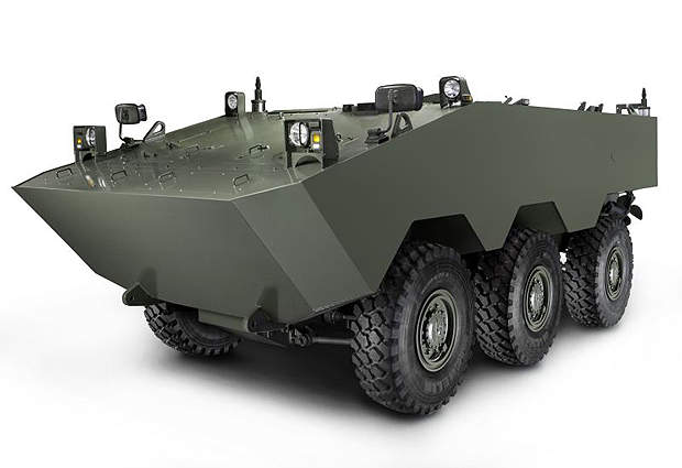 The VBTP-MR APC on 6×6 wheeled chassis will weigh about 18t.