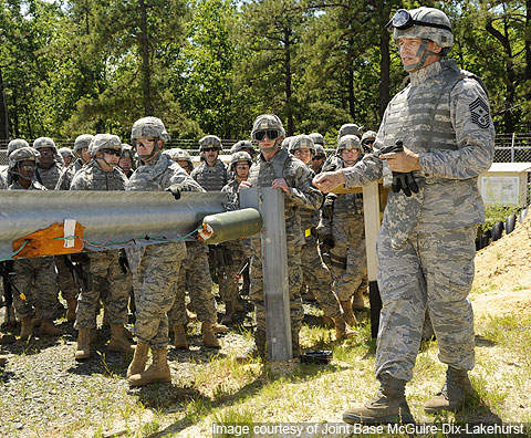 An improvised explosive device training class at Joint Base McGuire-Dix-Lakehurst's Camp Victory.