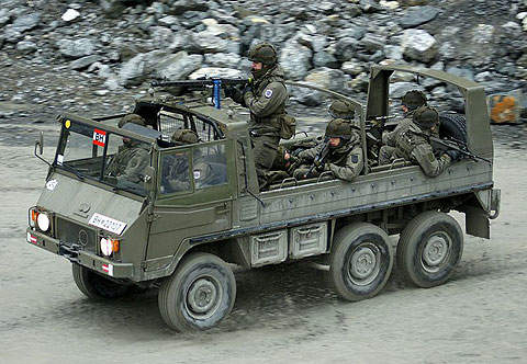 The Pinzgauer can carry up to ten men.